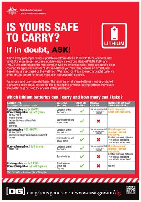 Dangerous Goods - traveling with batteries